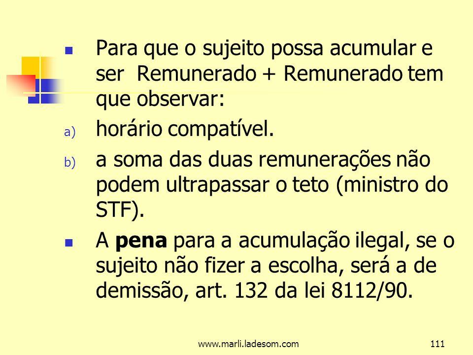 www.marli.ladesom.com111 Para que o sujeito possa acumular e ser Remunerado + Remunerado tem que observar: a) horário compatível.