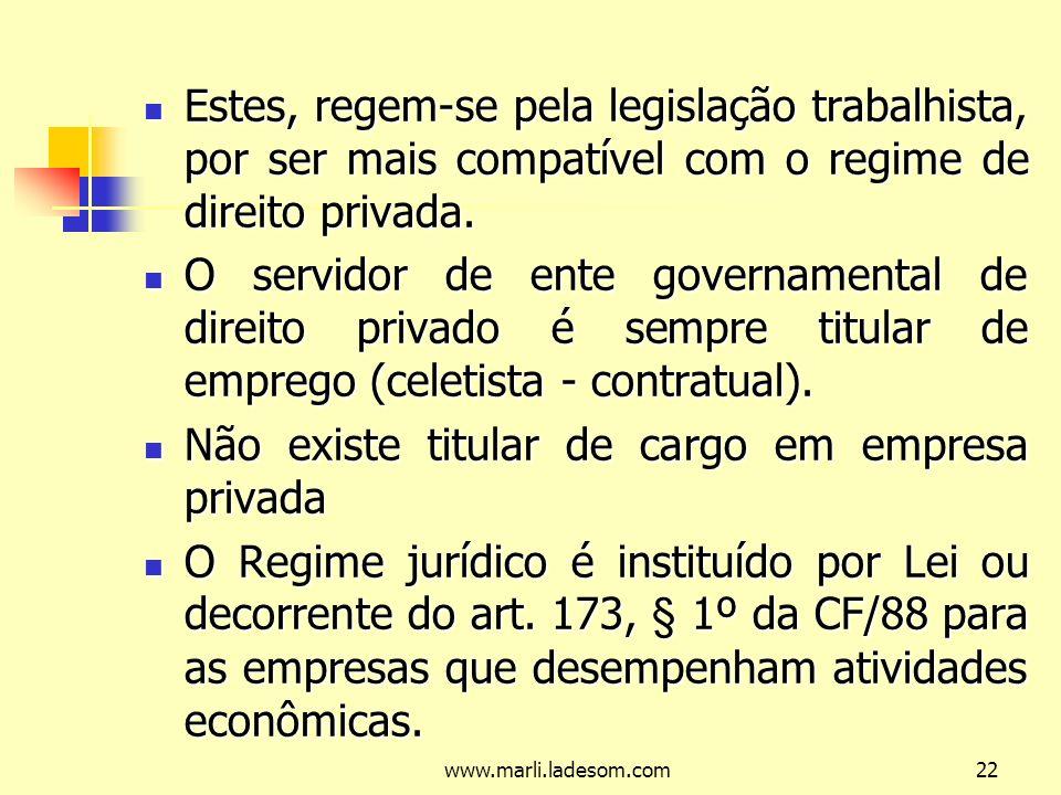 www.marli.ladesom.com22 Estes, regem-se pela legislação trabalhista, por ser mais compatível com o regime de direito privada.