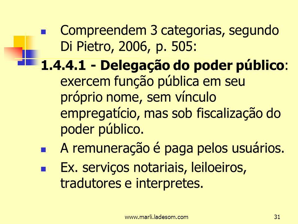www.marli.ladesom.com31 Compreendem 3 categorias, segundo Di Pietro, 2006, p.
