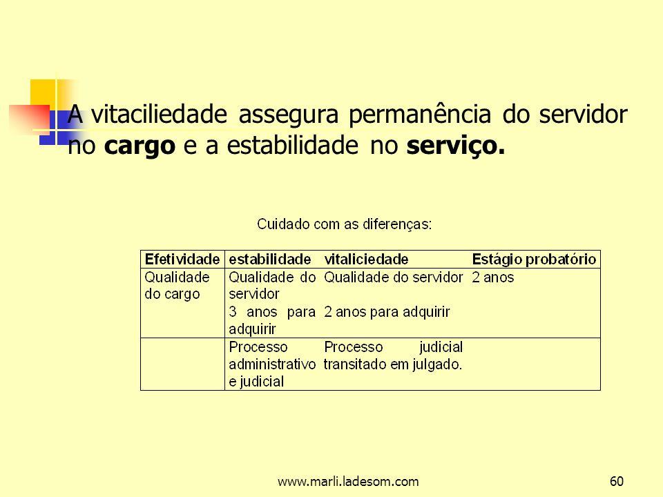 www.marli.ladesom.com60 A vitaciliedade assegura permanência do servidor no cargo e a estabilidade no serviço.