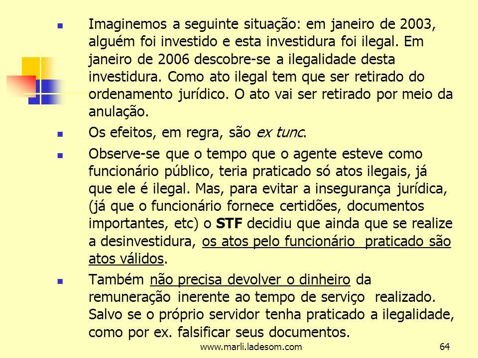 www.marli.ladesom.com64 Imaginemos a seguinte situação: em janeiro de 2003, alguém foi investido e esta investidura foi ilegal.