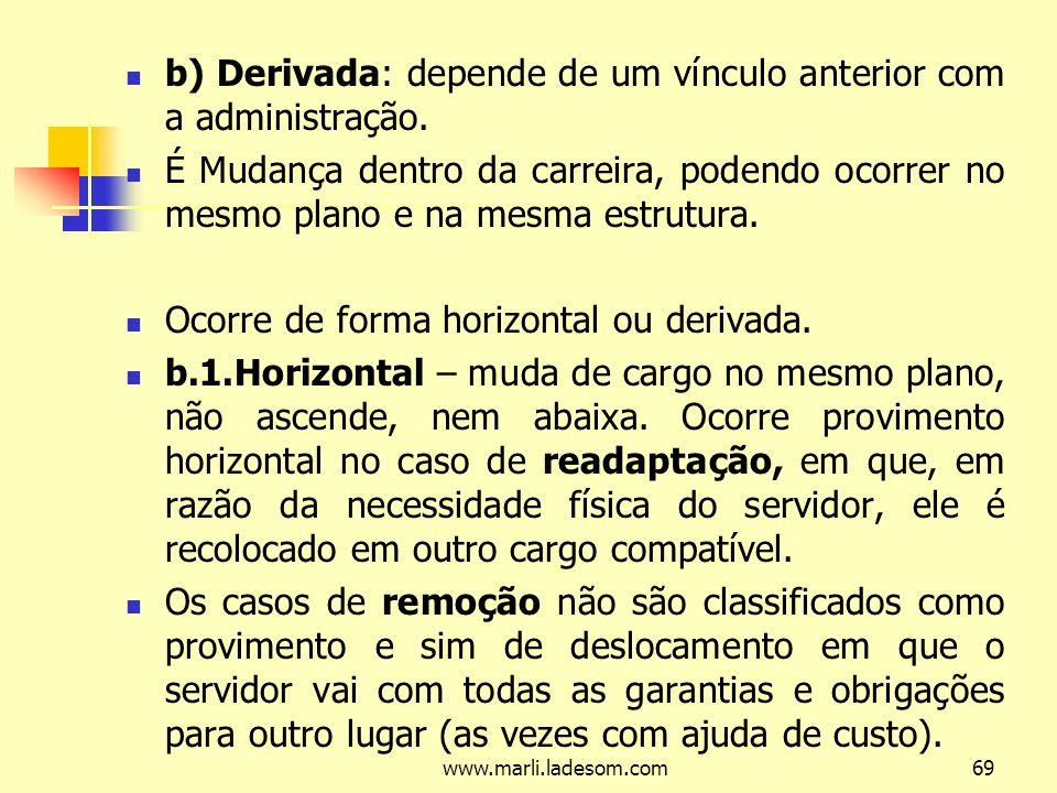 www.marli.ladesom.com69 b) Derivada: depende de um vínculo anterior com a administração.