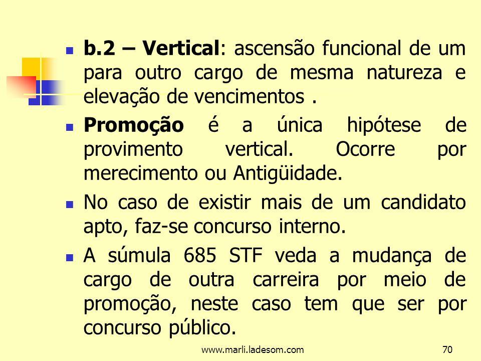 www.marli.ladesom.com70 b.2 – Vertical: ascensão funcional de um para outro cargo de mesma natureza e elevação de vencimentos.
