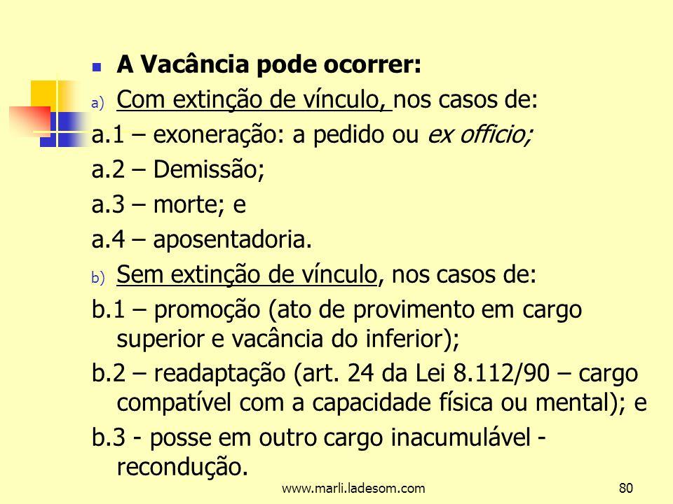 www.marli.ladesom.com80 A Vacância pode ocorrer: a) Com extinção de vínculo, nos casos de: a.1 – exoneração: a pedido ou ex officio; a.2 – Demissão; a.3 – morte; e a.4 – aposentadoria.