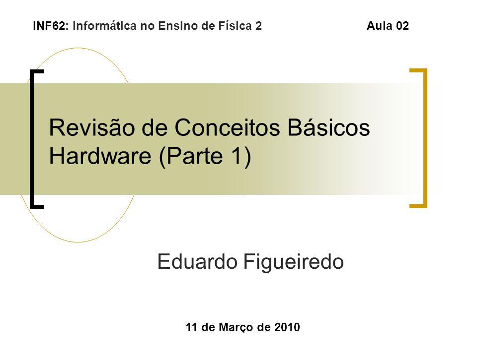 Revisão de Conceitos Básicos Hardware (Parte 1) Eduardo Figueiredo 11 de Março de 2010 INF62: Informática no Ensino de Física 2 Aula 02