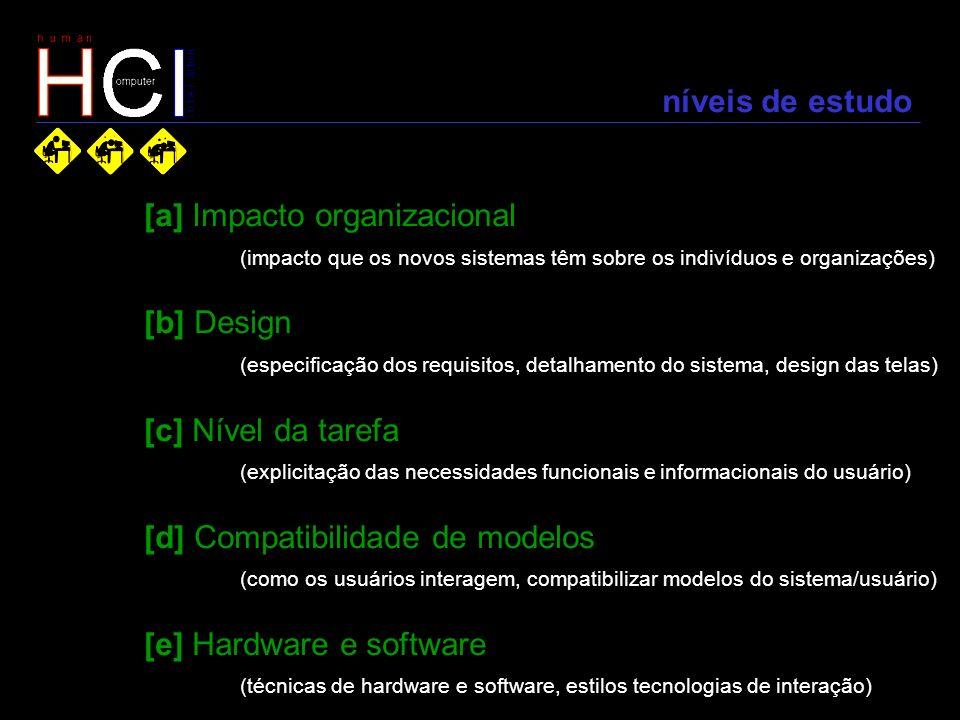 níveis de estudo [a] Impacto organizacional (impacto que os novos sistemas têm sobre os indivíduos e organizações) [b] Design (especificação dos requi