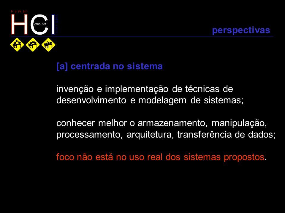 perspectivas [a] centrada no sistema invenção e implementação de técnicas de desenvolvimento e modelagem de sistemas; conhecer melhor o armazenamento,