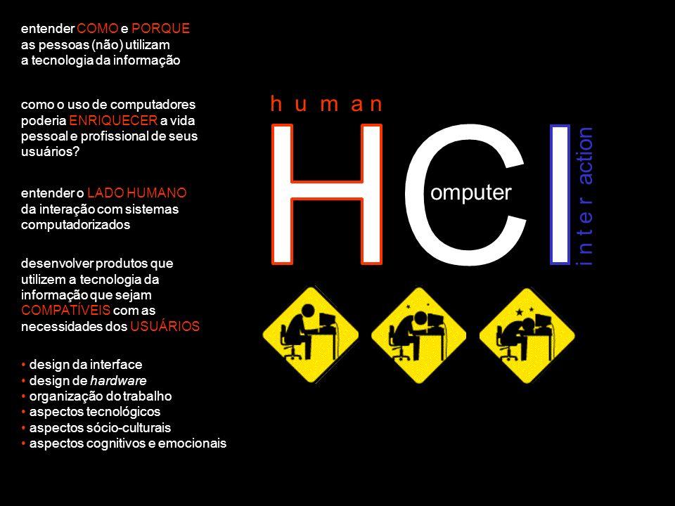 HCI h u m a n omputer i n t e r action entender COMO e PORQUE as pessoas (não) utilizam a tecnologia da informação como o uso de computadores poderia