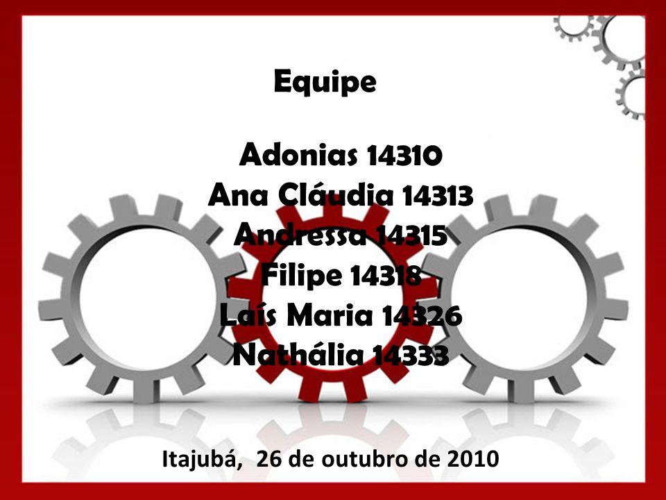 Equipe Itajubá, 26 de outubro de 2010 Adonias 14310 Ana Cláudia 14313 Andressa 14315 Filipe 14318 Laís Maria 14326 Nathália 14333