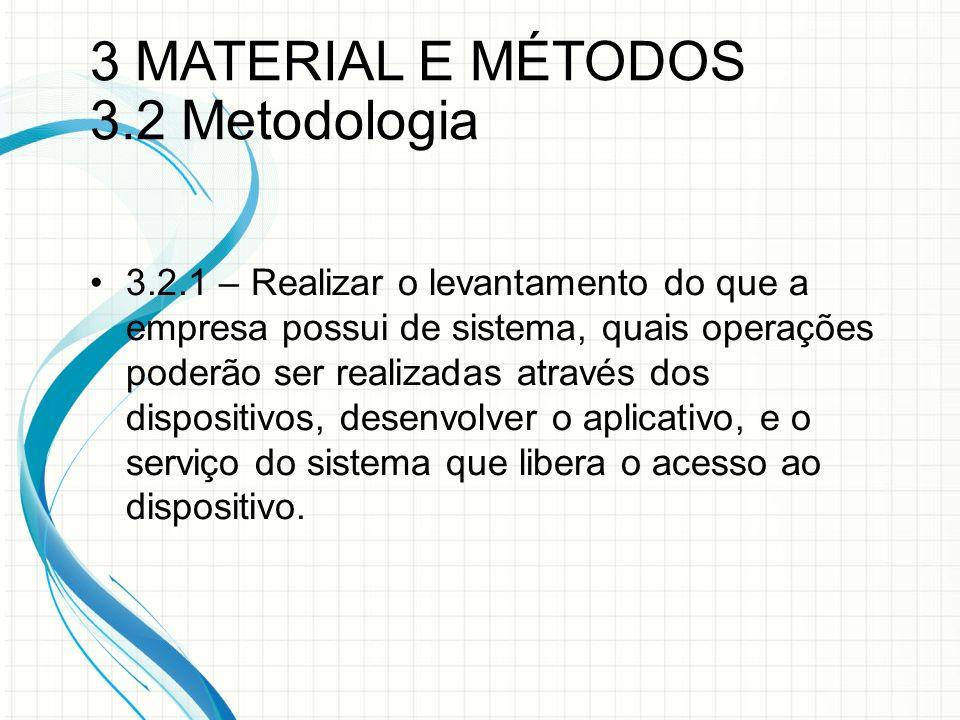 3 MATERIAL E MÉTODOS 3.2 Metodologia 3.2.1 – Realizar o levantamento do que a empresa possui de sistema, quais operações poderão ser realizadas através dos dispositivos, desenvolver o aplicativo, e o serviço do sistema que libera o acesso ao dispositivo.
