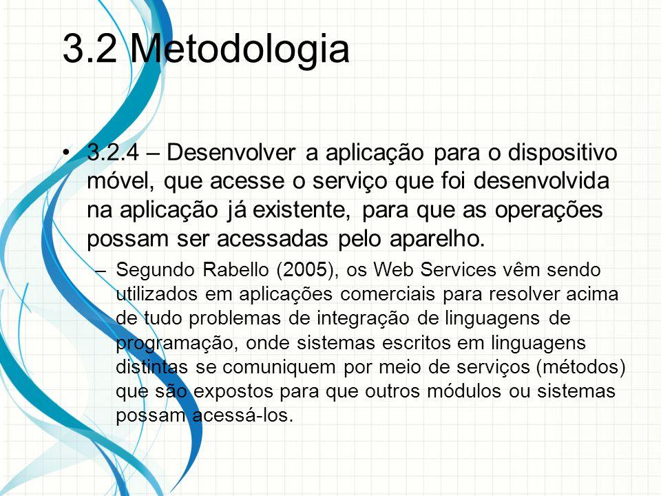 3.2 Metodologia 3.2.4 – Desenvolver a aplicação para o dispositivo móvel, que acesse o serviço que foi desenvolvida na aplicação já existente, para que as operações possam ser acessadas pelo aparelho.