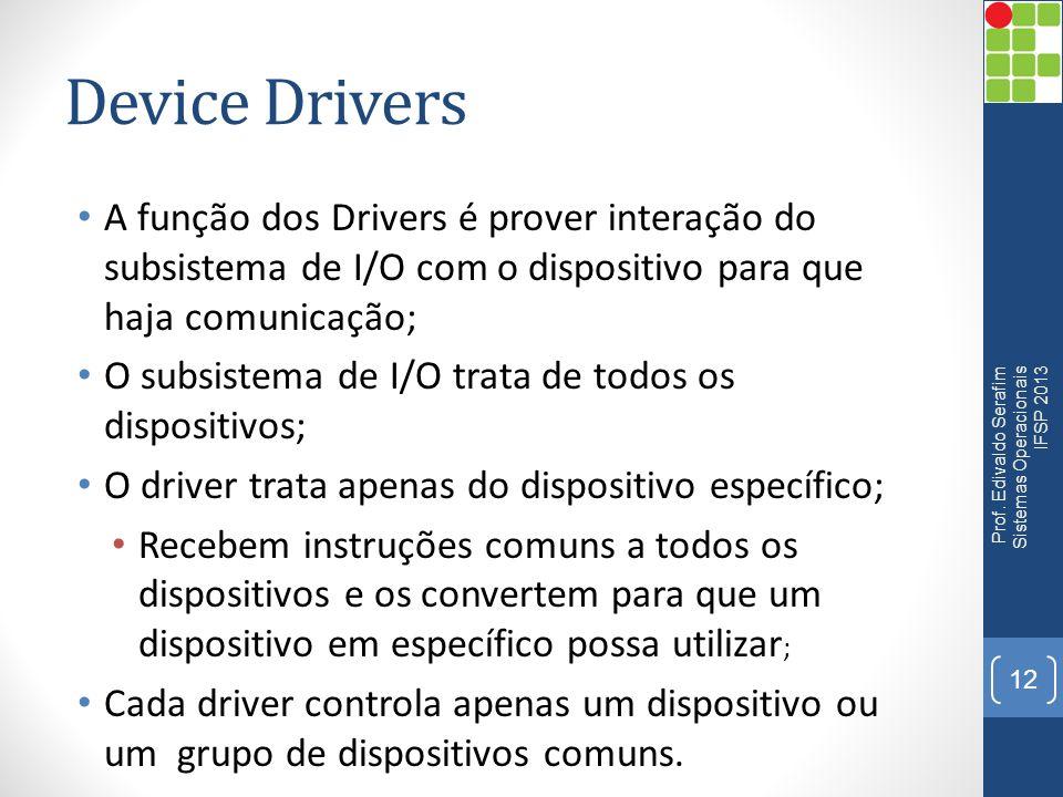 Device Drivers A função dos Drivers é prover interação do subsistema de I/O com o dispositivo para que haja comunicação; O subsistema de I/O trata de