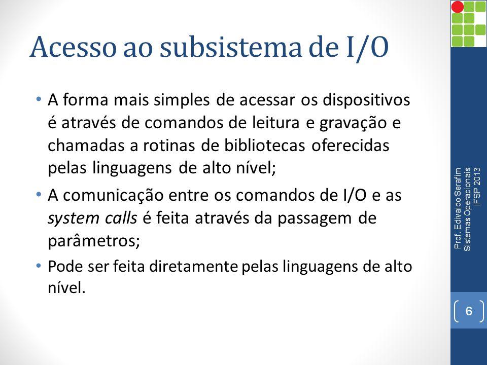 Acesso ao subsistema de I/O Prof. Edivaldo Serafim Sistemas Operacionais IFSP 2013 7