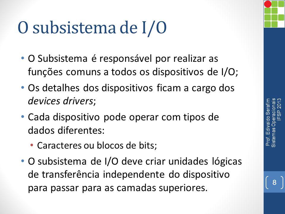 O subsistema de I/O O Subsistema é responsável por realizar as funções comuns a todos os dispositivos de I/O; Os detalhes dos dispositivos ficam a car
