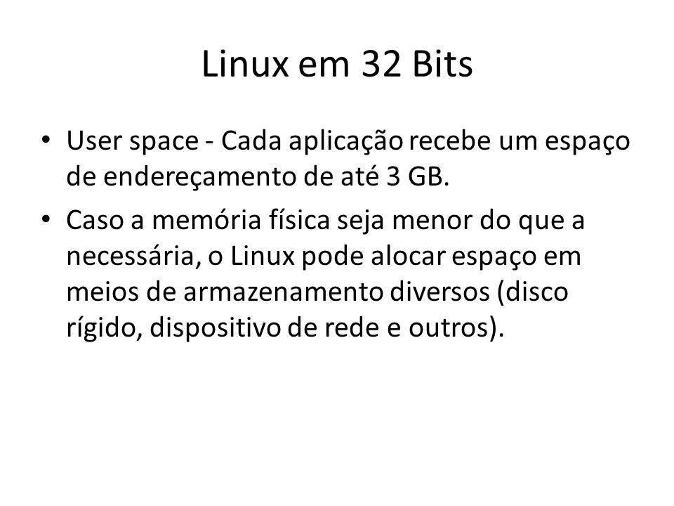 Linux em 32 Bits User space - Cada aplicação recebe um espaço de endereçamento de até 3 GB. Caso a memória física seja menor do que a necessária, o Li