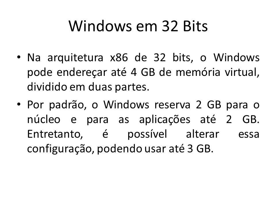 Windows em 32 Bits Na arquitetura x86 de 32 bits, o Windows pode endereçar até 4 GB de memória virtual, dividido em duas partes. Por padrão, o Windows
