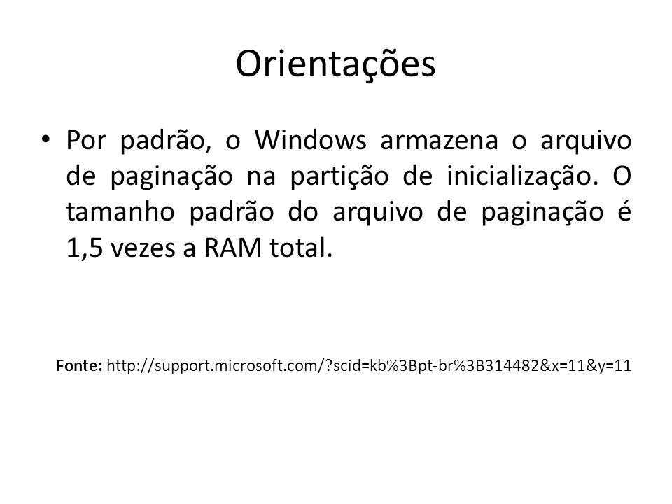 Orientações Por padrão, o Windows armazena o arquivo de paginação na partição de inicialização. O tamanho padrão do arquivo de paginação é 1,5 vezes a