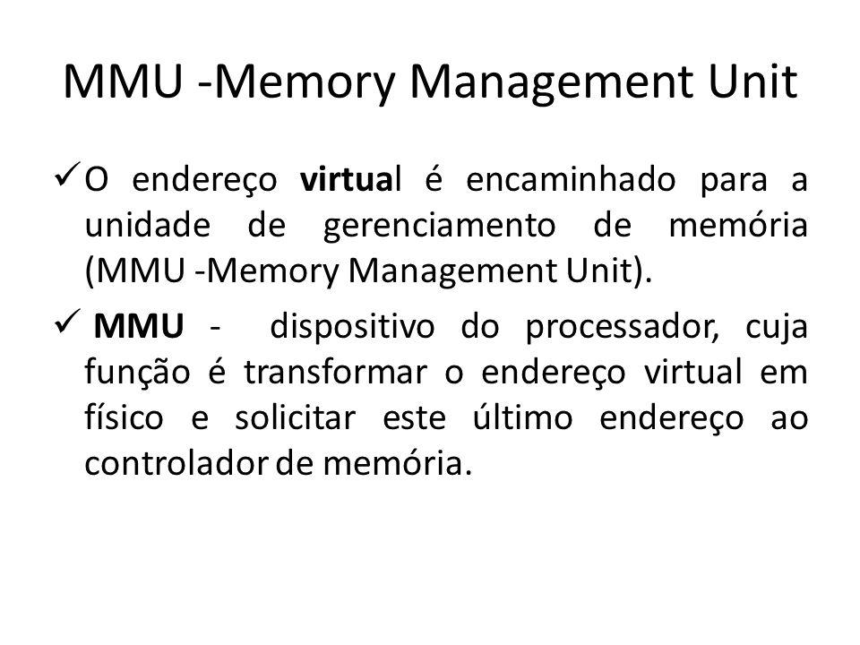 MMU -Memory Management Unit O endereço virtual é encaminhado para a unidade de gerenciamento de memória (MMU -Memory Management Unit). MMU - dispositi