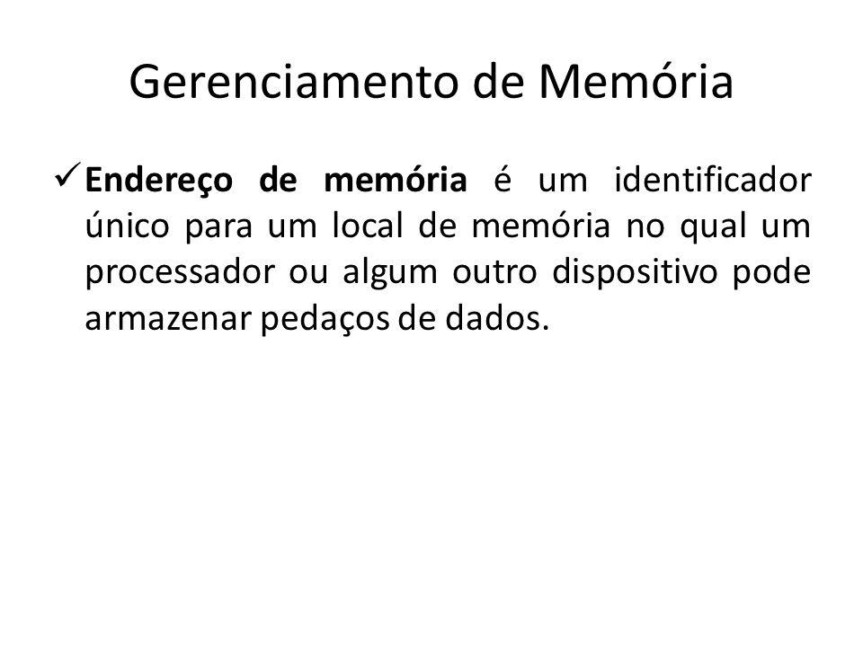 Gerenciamento de Memória Endereço de memória é um identificador único para um local de memória no qual um processador ou algum outro dispositivo pode