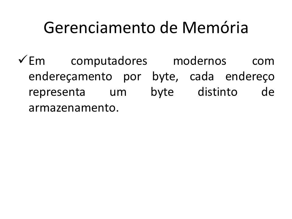 Gerenciamento de Memória Em computadores modernos com endereçamento por byte, cada endereço representa um byte distinto de armazenamento.