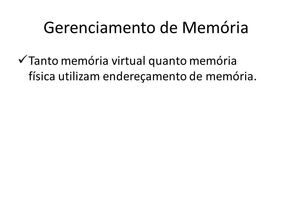 Gerenciamento de Memória Tanto memória virtual quanto memória física utilizam endereçamento de memória.