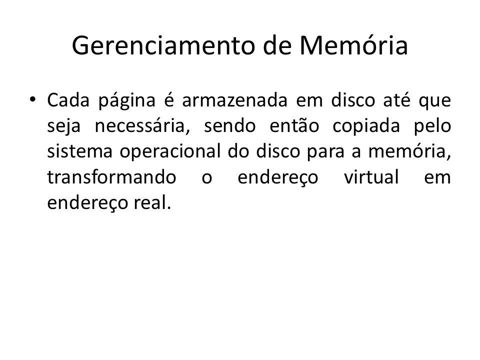 Gerenciamento de Memória Cada página é armazenada em disco até que seja necessária, sendo então copiada pelo sistema operacional do disco para a memór