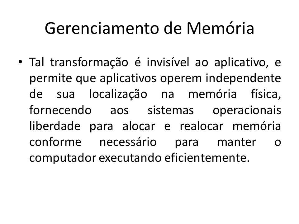 Gerenciamento de Memória Tal transformação é invisível ao aplicativo, e permite que aplicativos operem independente de sua localização na memória físi