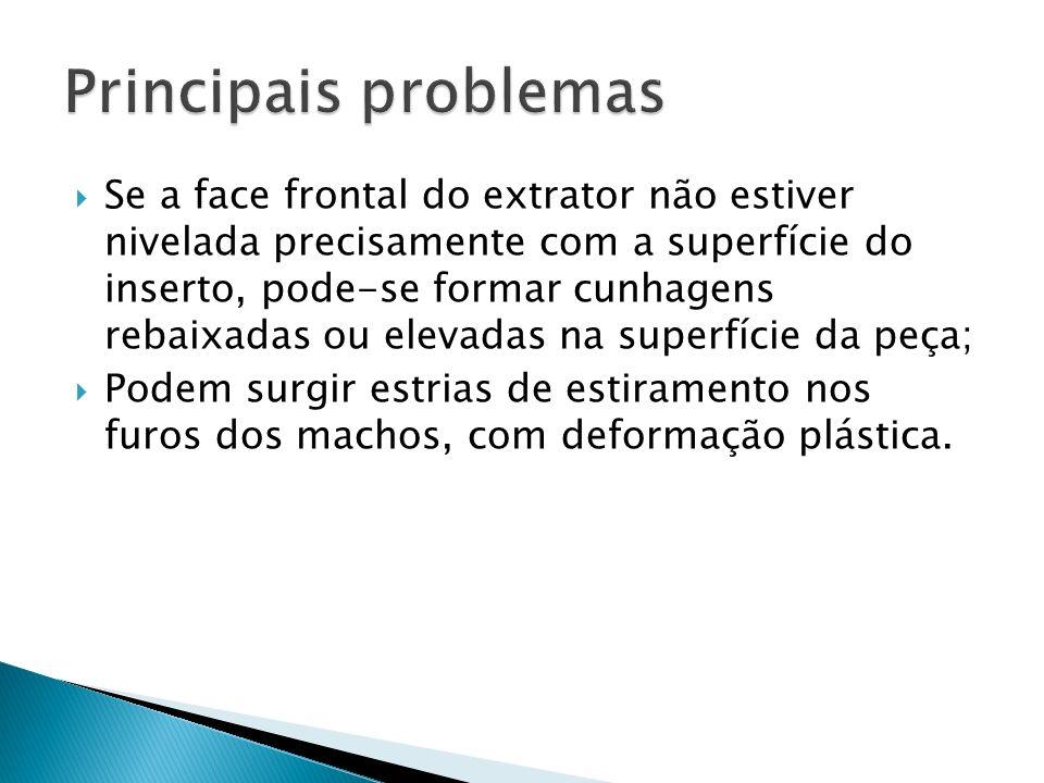 Se a face frontal do extrator não estiver nivelada precisamente com a superfície do inserto, pode-se formar cunhagens rebaixadas ou elevadas na superf