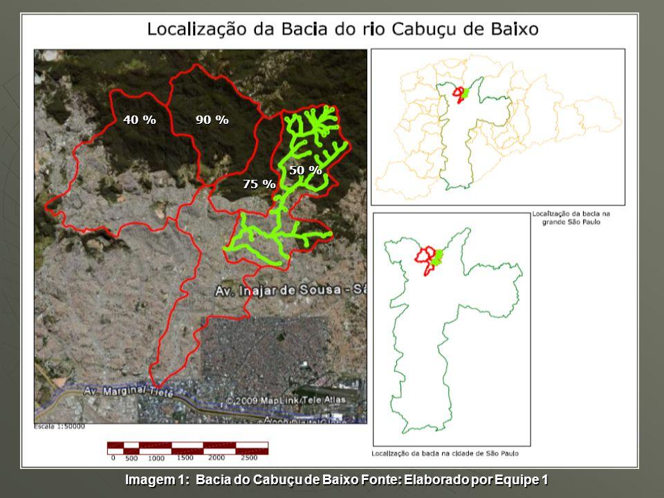 Imagem 1: Bacia do Cabuçu de Baixo Fonte: Elaborado por Equipe 1 40 % 50 % 90 % 75 %