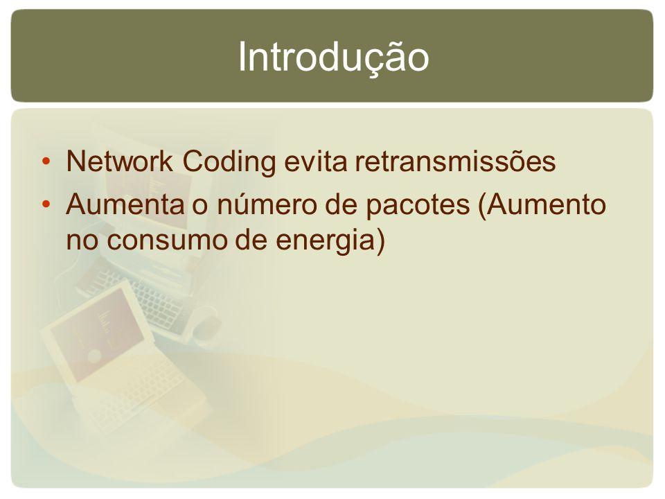 Introdução Network Coding evita retransmissões Aumenta o número de pacotes (Aumento no consumo de energia)