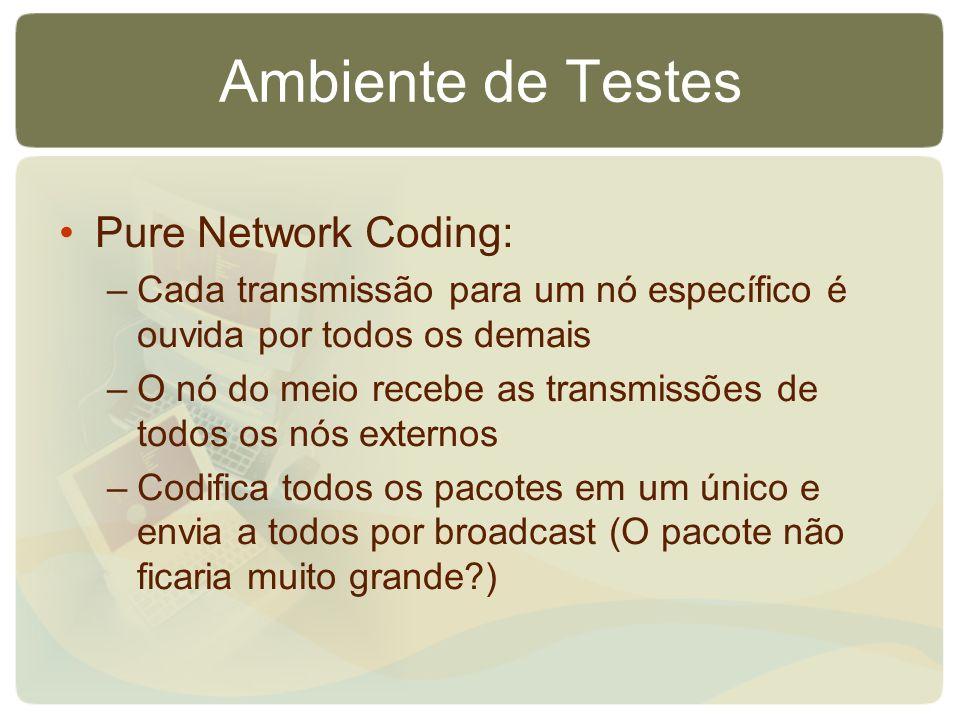 Ambiente de Testes Pure Network Coding: –Cada transmissão para um nó específico é ouvida por todos os demais –O nó do meio recebe as transmissões de t