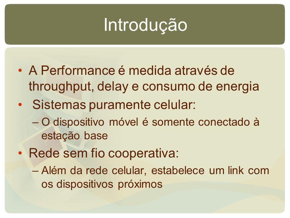Introdução A Performance é medida através de throughput, delay e consumo de energia Sistemas puramente celular: –O dispositivo móvel é somente conecta