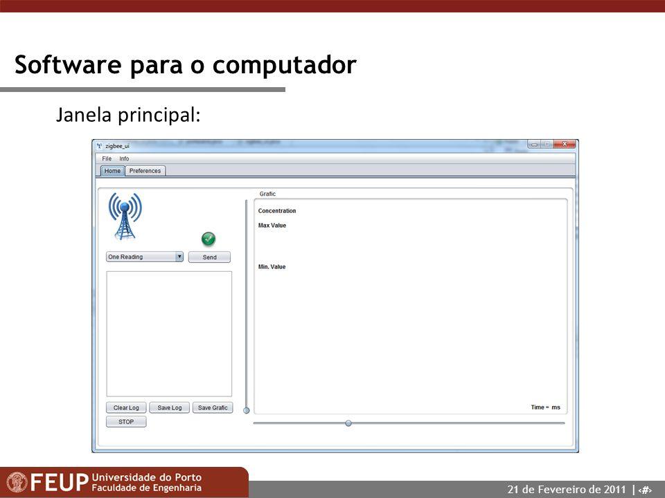 12 Software para o computador Janela principal: 21 de Fevereiro de 2011 |