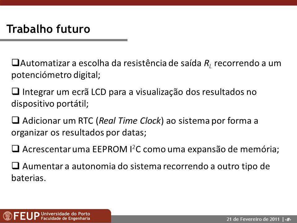 25 Trabalho futuro Automatizar a escolha da resistência de saída R L recorrendo a um potenciómetro digital; Integrar um ecrã LCD para a visualização d