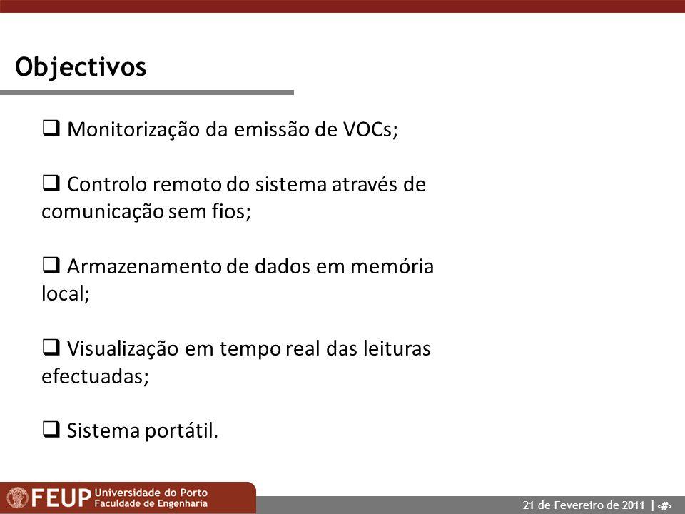 4 Objectivos Monitorização da emissão de VOCs; Controlo remoto do sistema através de comunicação sem fios; Armazenamento de dados em memória local; Vi