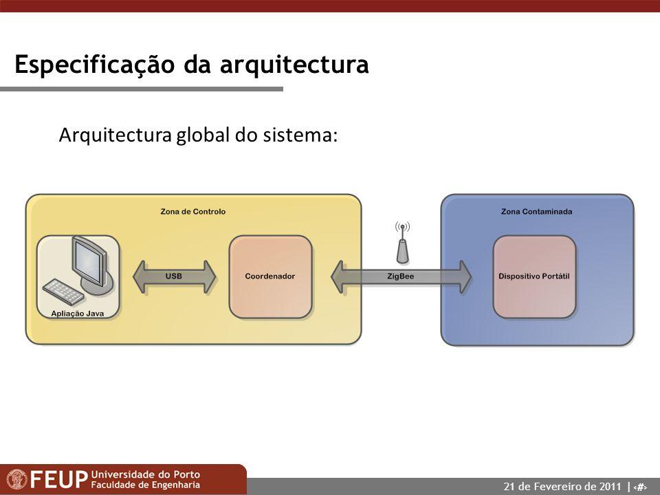 8 Especificação da arquitectura Arquitectura global do sistema: 21 de Fevereiro de 2011 |
