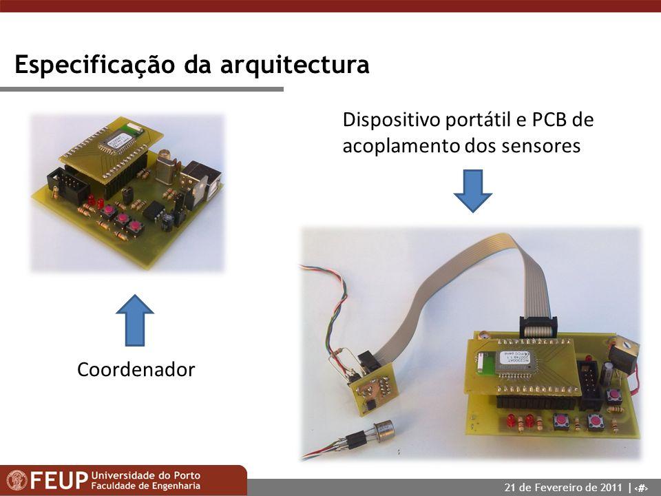 9 Especificação da arquitectura Coordenador Dispositivo portátil e PCB de acoplamento dos sensores 21 de Fevereiro de 2011 |