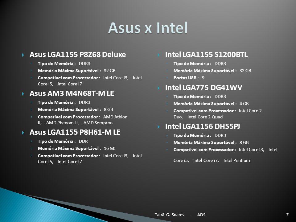 Asus LGA1155 P8Z68 Deluxe Tipo de Memória : DDR3 Memória Máxima Suportável : 32 GB Compatível com Processador : Intel Core i3, Intel Core i5, Intel Co