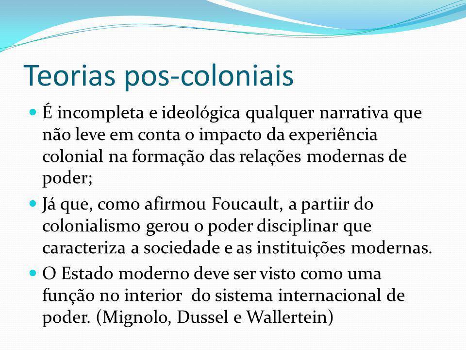 Teorias pos-coloniais É incompleta e ideológica qualquer narrativa que não leve em conta o impacto da experiência colonial na formação das relações modernas de poder; Já que, como afirmou Foucault, a partiir do colonialismo gerou o poder disciplinar que caracteriza a sociedade e as instituições modernas.