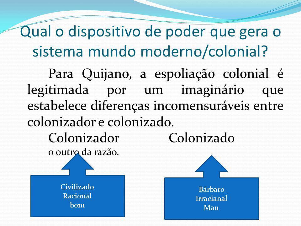 Qual o dispositivo de poder que gera o sistema mundo moderno/colonial.