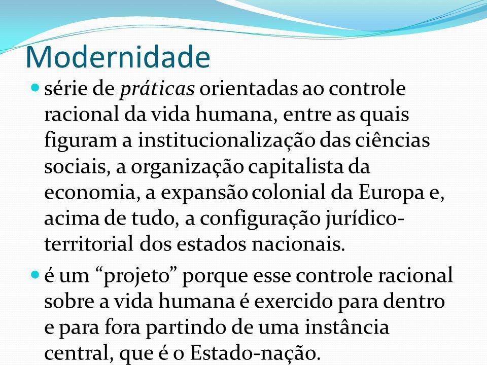 Modernidade série de práticas orientadas ao controle racional da vida humana, entre as quais figuram a institucionalização das ciências sociais, a organização capitalista da economia, a expansão colonial da Europa e, acima de tudo, a configuração jurídico- territorial dos estados nacionais.