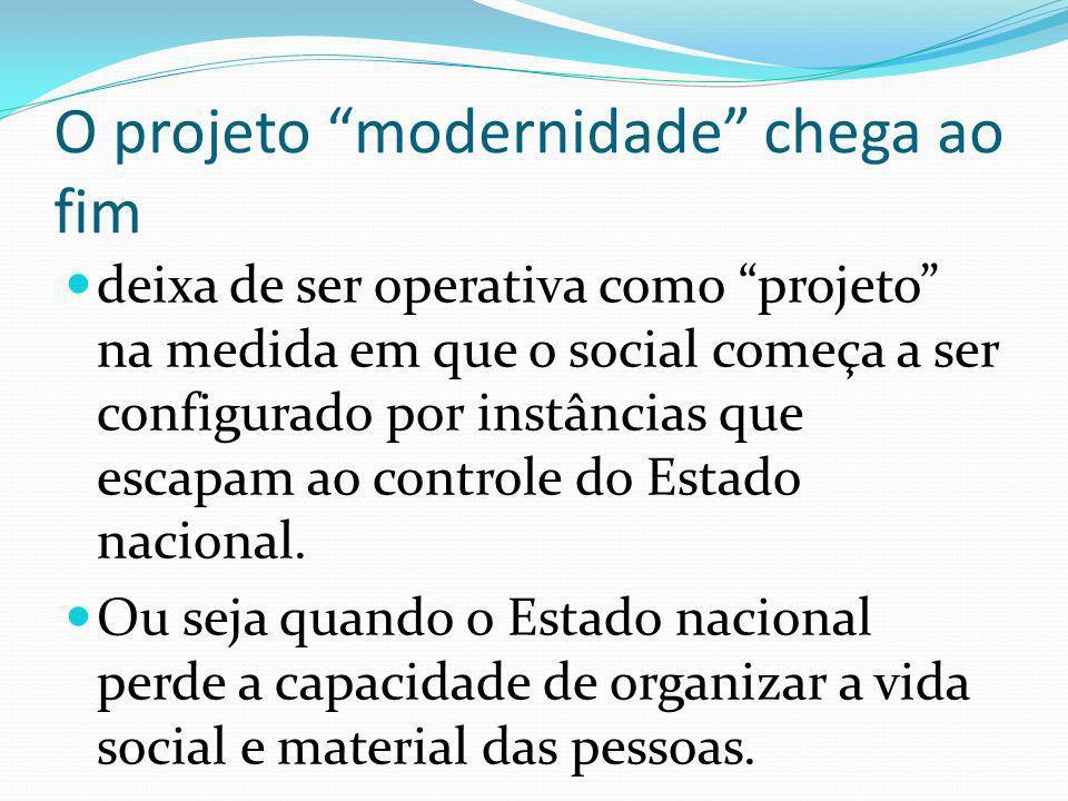 O projeto modernidade chega ao fim deixa de ser operativa como projeto na medida em que o social começa a ser configurado por instâncias que escapam ao controle do Estado nacional.