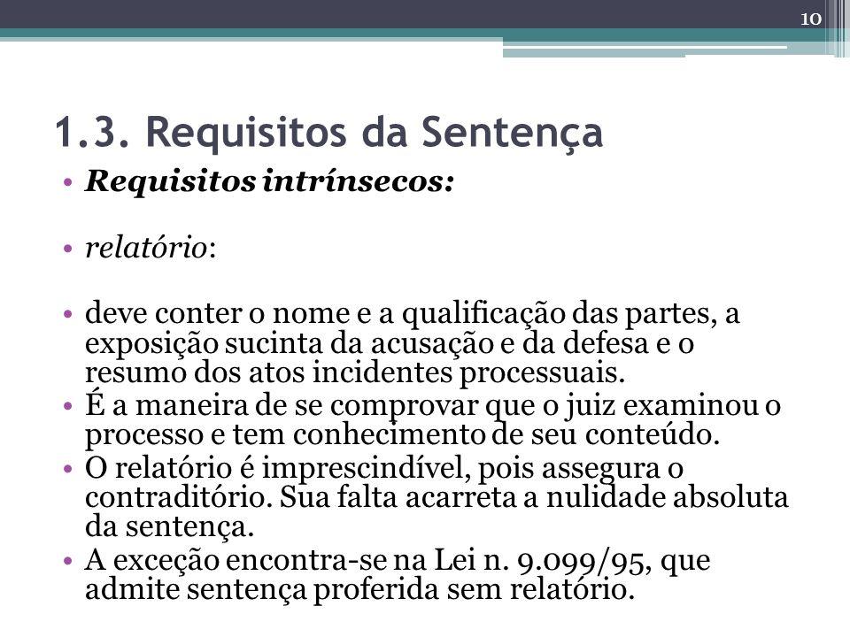 1.3. Requisitos da Sentença Requisitos intrínsecos: relatório: deve conter o nome e a qualificação das partes, a exposição sucinta da acusação e da de