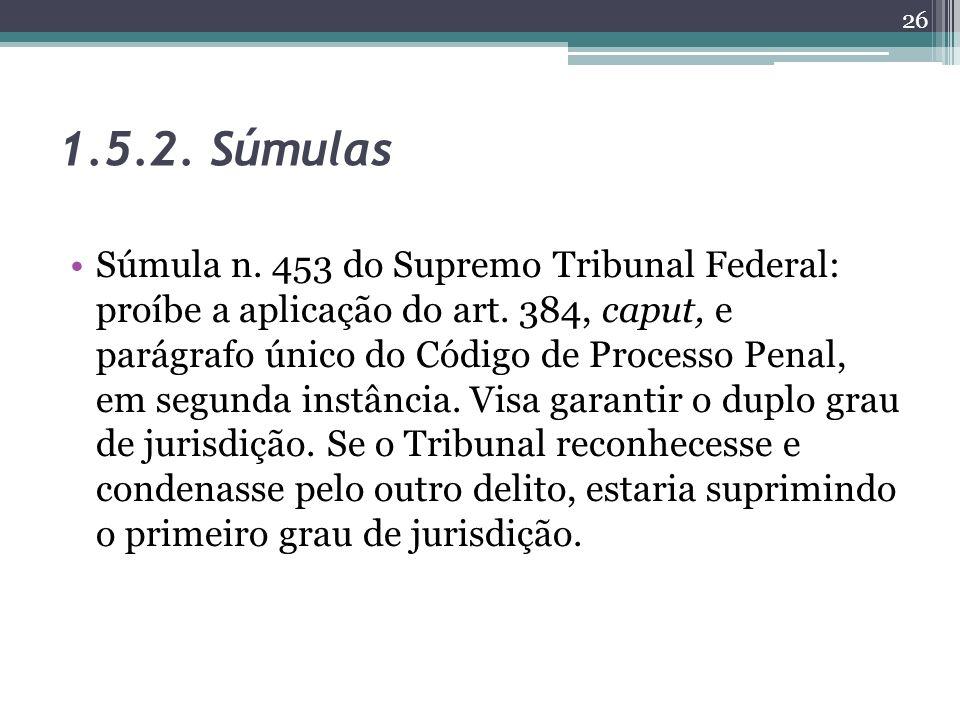 1.5.2. Súmulas Súmula n. 453 do Supremo Tribunal Federal: proíbe a aplicação do art. 384, caput, e parágrafo único do Código de Processo Penal, em seg