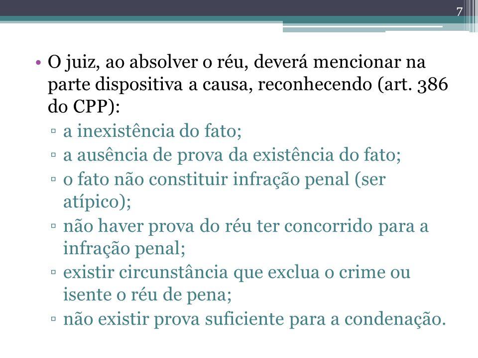 O juiz, ao absolver o réu, deverá mencionar na parte dispositiva a causa, reconhecendo (art. 386 do CPP): a inexistência do fato; a ausência de prova