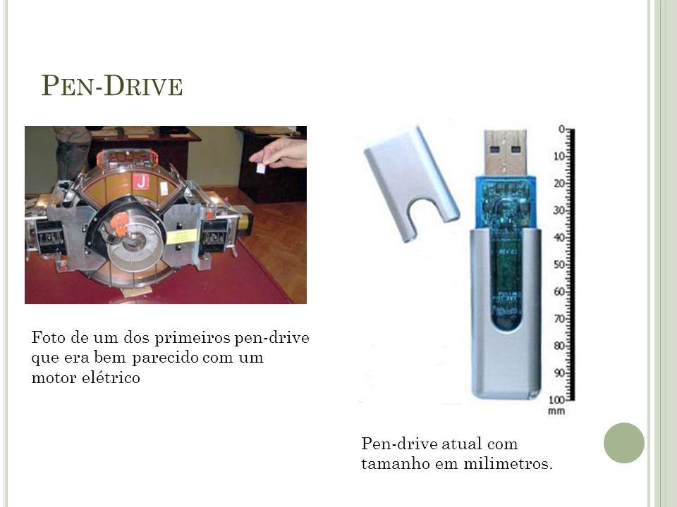 P EN -D RIVE Foto de um dos primeiros pen-drive que era bem parecido com um motor elétrico Pen-drive atual com tamanho em milimetros.