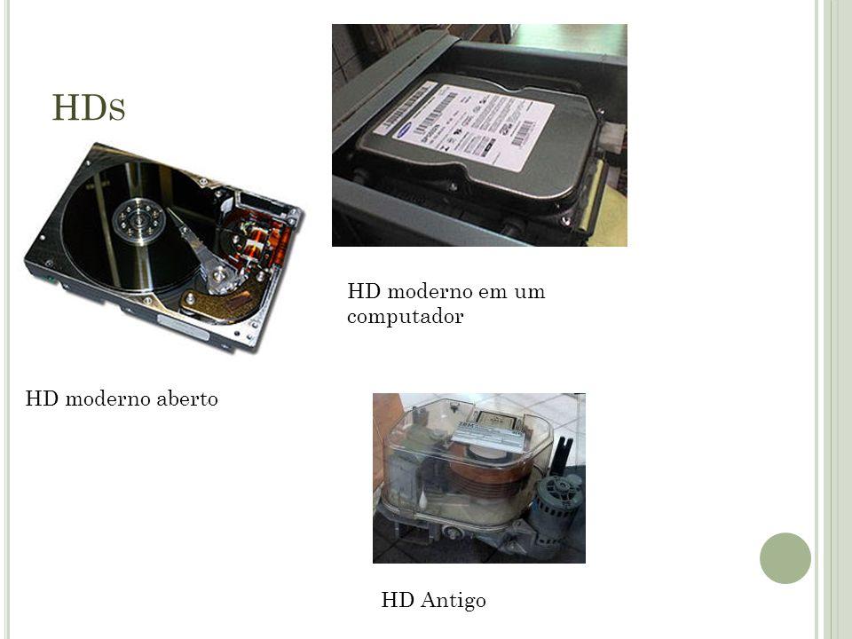 HD S HD moderno aberto HD moderno em um computador HD Antigo