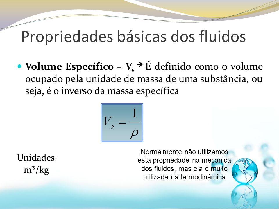 Volume Específico – V s É definido como o volume ocupado pela unidade de massa de uma substância, ou seja, é o inverso da massa específica Unidades: m