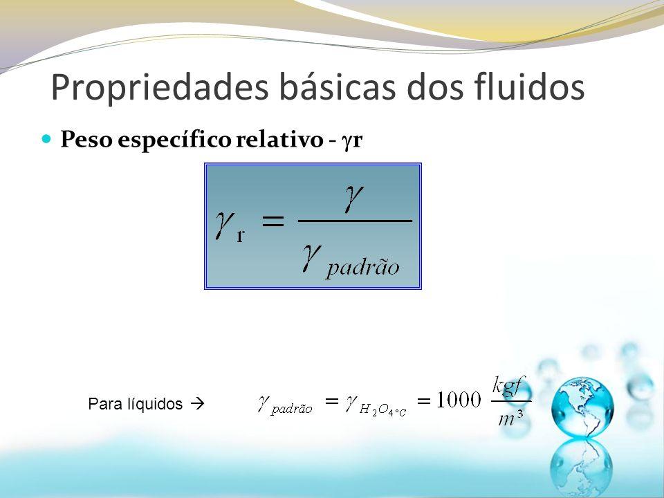 Volume Específico – V s É definido como o volume ocupado pela unidade de massa de uma substância, ou seja, é o inverso da massa específica Unidades: m³/kg Propriedades básicas dos fluidos Normalmente não utilizamos esta propriedade na mecânica dos fluidos, mas ela é muito utilizada na termodinâmica