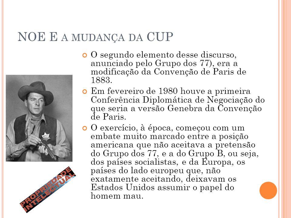 NOE E A MUDANÇA DA CUP O segundo elemento desse discurso, anunciado pelo Grupo dos 77), era a modificação da Convenção de Paris de 1883.